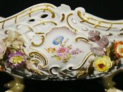 Antique Meissen Hand Painted Reticulated Floral Basket Footed Bowl 19th C