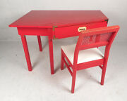 Mid-century Modern Red Campaign Desk And Matching Chair 9465nj