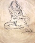 Jose Clemente Orozco 23 X 19.5andrdquo Charcoal On Paper Drawing On 2 Sides