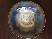 Bill Campbell, Pottery bowl piece of art blue, white and brown Flambeaux design