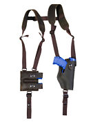 New Brown Leather Vertical Shoulder Holster W/ Dbl Mag Pouch Colt Kimber Compact