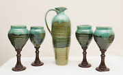 Made-in-the-USA Green Glazed Wine Carafe with 4 Wood and Stoneware Wine Glasses