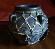 vtg philippines decorative art pot with bamboo