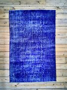 9and0393 X 6and0392 Vintage Hand Knotted Overdyed Blue Turkish Wool Area Rug