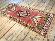 9and0392 X 4and0392 Vintage Hand Knotted Red And Yellow Moroccan Wool Runner Rug