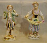 Pair Of Dresden Saxonian Porcelain Figurines Boy And Girl With Flowers After 1901
