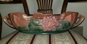 """Vintage Roseville Art Pottery Doubled-Handled Water Lily Console Bowl 444-14"""""""