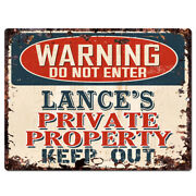 Ppwp0245 Warning Lanceand039s Private Property Chic Sign Man Cave Decor Gift