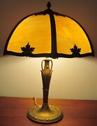 Arts And Crafts Miller Table Lamp With Caramel Colored 6 Panel Filigree Shade