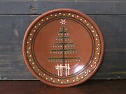 Redware Christmas Plate - Feather Tree - Folk Art - Signed - Dated - Inscribed