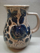"Vintage MidCentury GERMAN BAY KERAMIK 7"" BLUE FRUIT PITCHER WEST GERMANY"