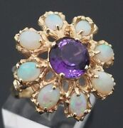 Vintage Handmade 14 Karat Yellow Gold Opal And Amethyst Cocktail Ring