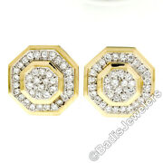 14k Yellow Gold Large Octagon Button Earrings W/ 1.80ctw Pave Set Round Diamonds