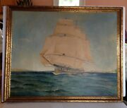 Antique 1935 By William Scbwartz Ocean Sailing Ship New York Oil Painting 40