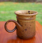 """Hand Spun Speckled Pottery Art Coffee Mug Great Ornate Handle 4"""" Tall Signed"""