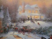 Thomas Kinkade Victorian Christmas Ii Lithograph On Canvas In Brandy Frame