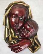 Vintage German Achatit Handarbeit Mother Madonna & Child Wall Plaque Sculpture