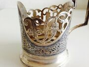 A Russian Solid Silver Hallmarked 875 Enameled Nielo Vintage Tea Cup Holder