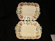 Rare Pair Of Signed Rogers Creamware Painted Floral Open Serving Bowls 1784-1814