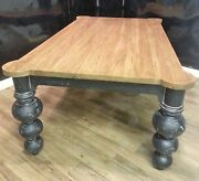 Steven Shell 84 Boules Dining Table Black Heavy Distressed Solid Mahogany Table