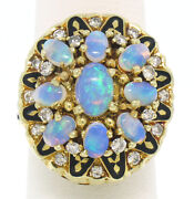 Vintage 14k Yellow Gold Oval Opal Diamond And Black Enamel Ladies Cocktail Ring