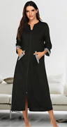 Plus Size Womenand039s 60 Cotton 3/4 Sleeves Full Length Zipper Robe X-large Black