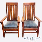 Pair Of Antique Arts And Crafts Mission Oak Library / Billiards Arm Chairs - Fine