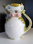 Mid Century Cat Face Milk Water Pitcher Pink Bow Italy 7 1/2 in.