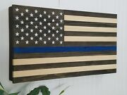 Thin Blue Line Usa Flag Gun Concealment Cabinet Secret Hidden Storage Rack Case