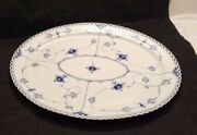 Royal Copenhagen 18 Oval Serving Platter In Blue Fluted Full Lace - Perfect