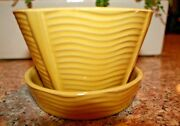 VINTAGE MCCOY POTTERY YELLOW FLOWER POT WITH INSERT FOR PLASTIC FLOWERS