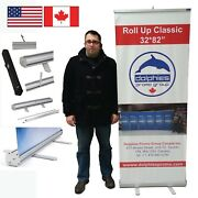 Lot Of 6 - Retractable Banner Stands Roll Up Trade Show Displays + Custom Prints
