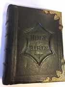 Rare Unique Antique Early 1800and039s Family Holy Bible Closing Clasps