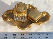 Rare Antique Victorian Gold Gilded Crystal Inkwell Pat. Dec 28 1897 Mint 5500
