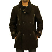 Mens Black Shearling Sheepskin Double Breasted Large Collar Warm Trench Coat
