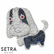 Dog Style Diamond And Ruby Sapphire Fine Necklaces / Brooches 14k Gold