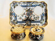 Fine Meissen Porcelain Exotic Bird And Flowers Inkwell Desk Tray 19th Century