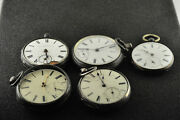 5 Pack Of Vintage Coin Silver English Pocket Watches For Parts Or Repairs