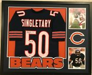 Framed Mike Singletary Autographed Signed Inscribed Chicago Bears Jersey Bas Coa