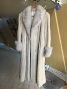 Womenandrsquos Full Length Authentic White Mink Coat With Grey Fox Trim