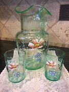 Vaseline Optic Glass Enamel Hand Painted Pitcher And 2 Hand Painted Tumblers