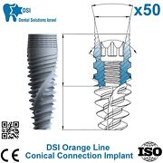 50x Dsi Dental Implant Conical Connection Active Hex Nobel Active Rp/np Iso