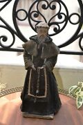 Antique Wooden Statue Figure Cloth Shrine Franciscan Rosary Handmade Circa 1790