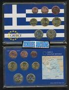 Greece. Euro Coins Emu Of Greek 2009 Unc In Box Set Of 8 Values {1c To 2 Euros}