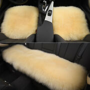 Beige Car Chair Sheepskin Wool Seat Covers Cusion Pad Front+rear Covers