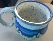 UNDER $10!  Rustic Hand Thrown Blue & Gray Signed STUDIO POTTERY Cup w Handle