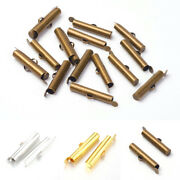 300pcs Brass Tube Slide On End Clasps Smooth Slider Caps Tip End Findings 26x5mm