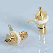 2pcs Gold Amplifier Rca Jack Female Chassis Connector Guitar Amp Red And Black
