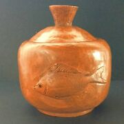 Vintage Handcrafted Pottery Covered Jar Bowl Fish signed 7""