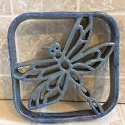"""BAY POTTERY 7""""  Blue glazed Hand Crafted Dragonfly Stoneware Trivet Gorgeous"""